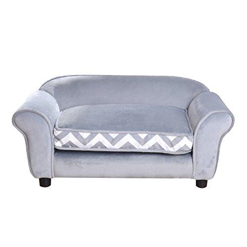 Giantex Pet Sofa Ultra Plush Snuggle Soft Warm Dog Puppy Sleeping Bed w/Cushion (Gray)