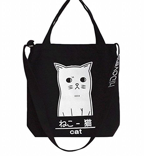 [POJ Harajuku Fashion Style Canvas Shoulder Bag Cat Pattern [ Color Black / Pink / Navy Blue ] Japan Cosplay (Black)] (Korean National Costume For Girls)