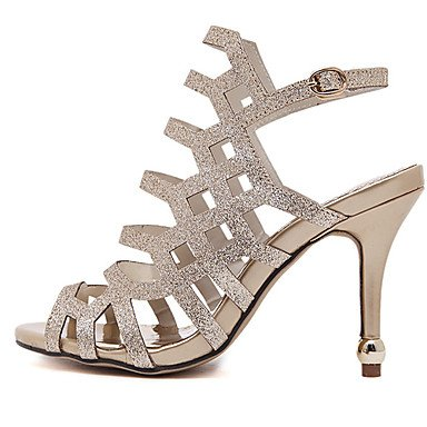 Por noche mujer EU38 UK5 Stiletto oro CN38 Negro 5 la amp;Amp; parte Vestido sandalias 5 polipiel Zapatos de HeelOpen Toe Plata FYios US7 7EvqHwgv