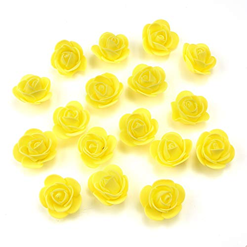 Red Hat Rose Bouquet - Fake Flower 50 pcs PE Foam Roses Head Artificial Flowers Wedding Decoration DIY Party Festival Home Decor Scrapbooking Gift Box DIY Wreath (Yellow)