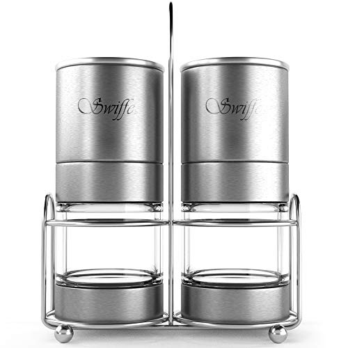 Swiffe Salt and Pepper Grinder Set - 2 Stainless Steel and Acrylic Salt and Pepper Mills - Adjustable Coarseness - Good Fresh Grind - Great for Gourmet Kitchen Chefs - Classic Design - Nice On Table