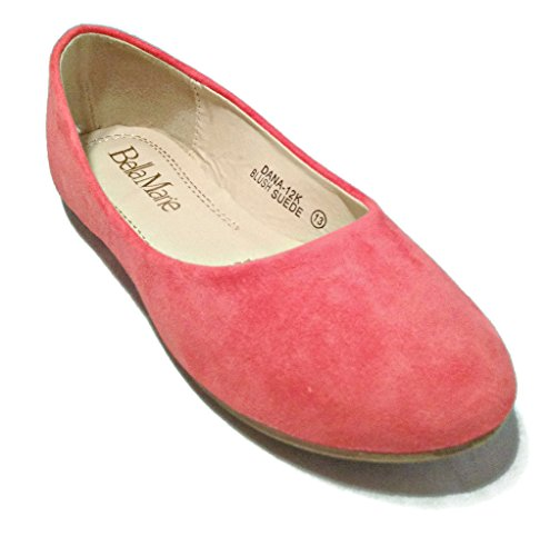 BellaMarie Kids Dress Ballet Flat Elastic Slip On Comfortable Ballerina BLUSH Synthetic Suede Shoes 1 US Little Kid (Pink Kids Dress Shoes)