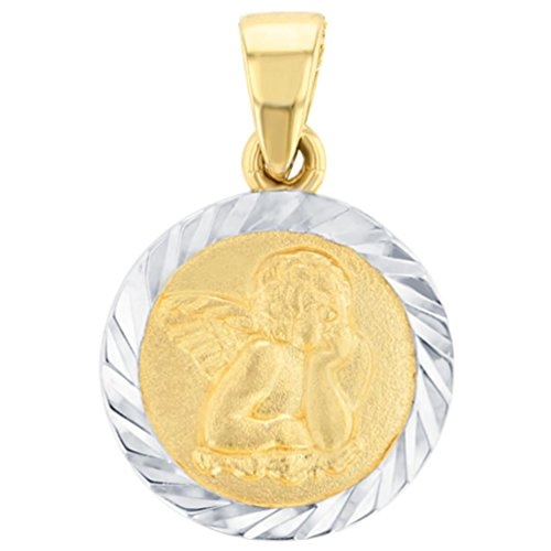 - Solid 14K Yellow Gold Round Guardian Angel Textured Medallion Charm Pendant