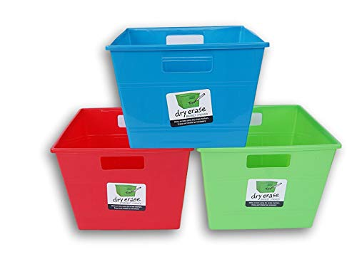 Locker Plastic Cubby - Square Dry-Erase Plastic Locker Bins with Handles - Red, Blue, Green - 10 x 10 x 7 Inches