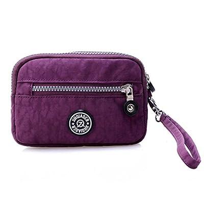 Tiny Chou Dual Layers Zipper Purse Waterproof Nylon Wristlet Bag Clutch Handbag Cell Phone Pouch