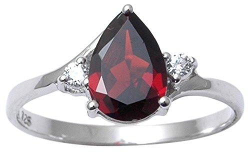 Banithani 925 Sterling Silver Beautiful Charm Garnet Gemstone Ring Indian Fashion Jewelry