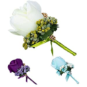 Artificial & Dried Flowers - White Yellow Blue Wedding Flowers Groom Boutonniere Man Groomsman Pin Brooch Silk Rose Corsage Suit - Artificial Dried Flowers 55