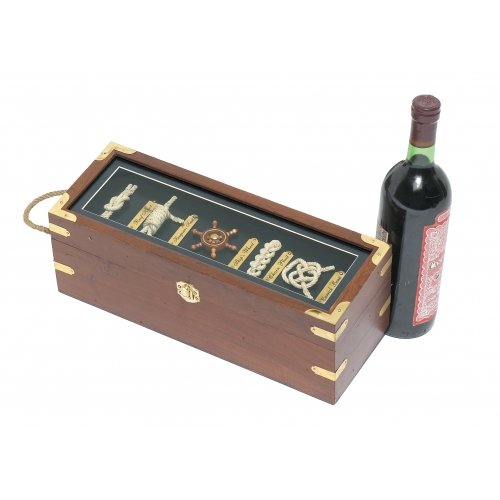 Wooden Knot Guide Board Wine Box with Jute Rope (Knot Board)