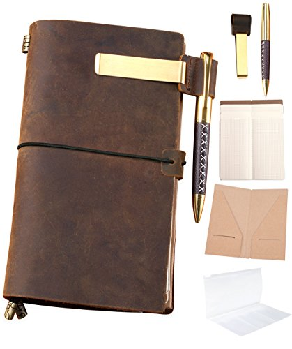 Refillable Leather Journal Refillable Travelers Notebook AMAZING BUNDLE 8.5x4.5 Vintage Antique Genuine Leather Travel Diary + Pen-Holder Clip Zipper Card Pocket Papers Notes Sketching Drawing Near A5 (Military Diary)