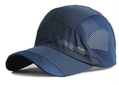 Mens Summer Quick Dry Mesh Baseball Cap Flat Top Military Army Cap Twill Cadet Running Golf Tennis Baseball Anti UV Sun Hats Snapback (A-Navy)