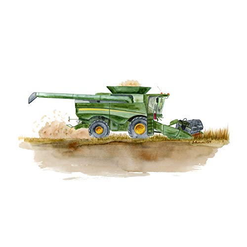 Green Combine Harvester Print, Tractor Illustration, Farm Nursery Art Print, Farm Equipment Decor, Green, Yellow, Brown - Available In Various Sizes