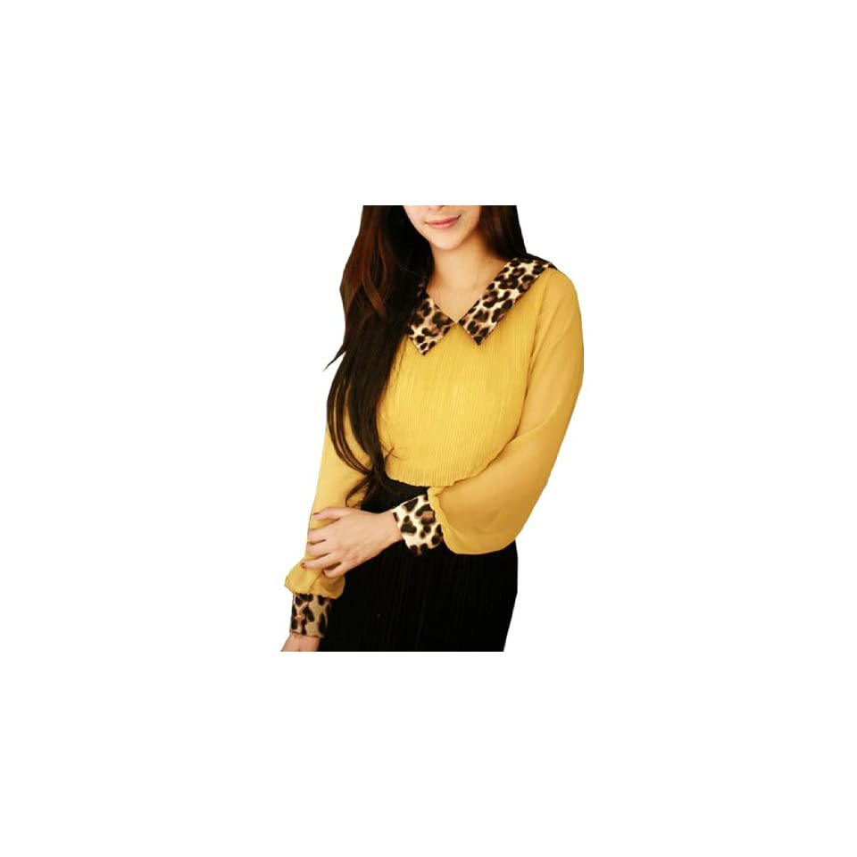 Leopard Print Collar Long Sleeve Pleated Blouse Yellow S Clothing