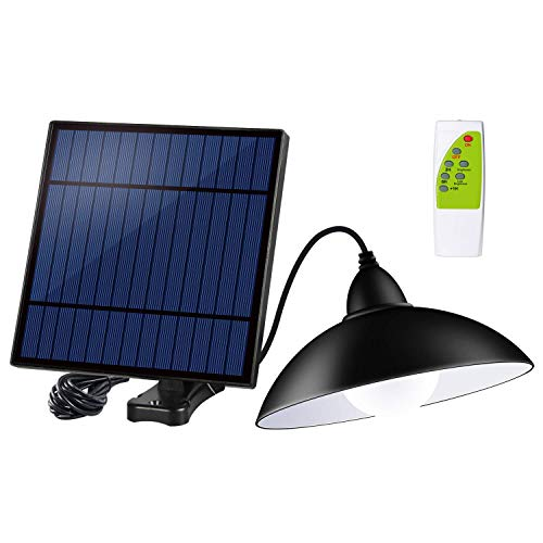 Acoala Solar Shed Lights Outdoor Indoor 12 LED Solar Pendant Light Lamp with Remote Control & Brightness Adjustable - Remote Solar Panel