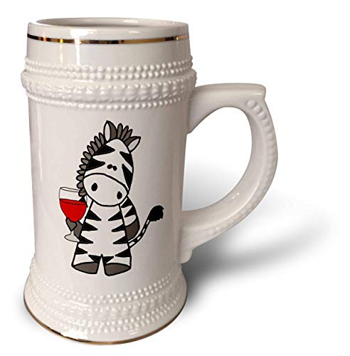 3dRose All Smiles Art - Animals - Funny Cute Zebra Drinking Red Wine Cartoon - 22oz Stein Mug (stn_298929_1)