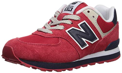 New Balance Boys' Iconic 574 V1 Running Shoe, RED/Navy, 1 M US Little Kid]()