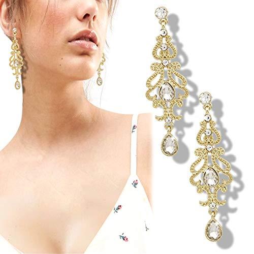Gold Earrings Q&Q Fashion Art Deco 20s 30s Flapper Gatsby Austria Crystal Bridal Silver Dangle Earrings