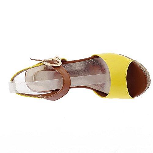 Farben Schnalle mit Sandalen Open Lackleder High VogueZone009 Verschiedene Womens Heel Toe Wedge Gelb PU wPxz7qBS