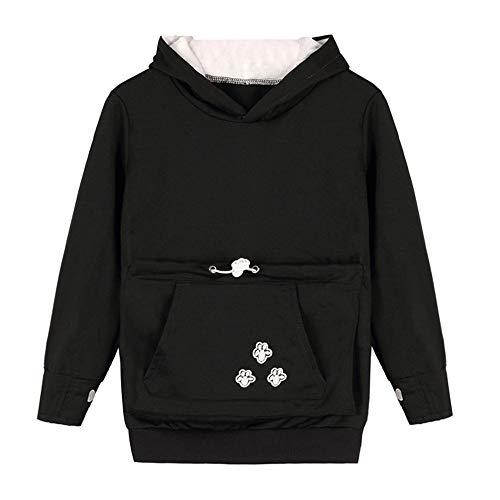 ed Sweatshirt, Kids Kangaroo Pet Dog Cat Holder Carrier Coat Large Pocket Hoodie Top (130,Black) ()