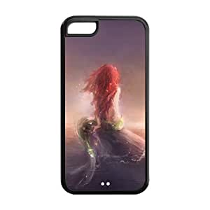 iPhone 5C Case, Case for Apple iPhone 5C Fashion TPU The Little Mermaid Style Hard Cover with Screen Protector,Iphone 5C Shell Protector