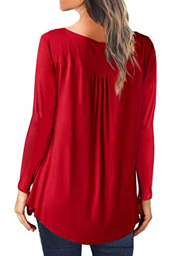 Casual Rouge Boutons Blouse Dayumoo Chemises Ruffle Tuniques Manches Femme Longues wtyxp4Hq