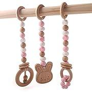 Baby Wooden Teether Toddler Toy Nursing Play Gym Silicone Beads Animal Pendant Rattles 3pcs BPA Free Food Grade Pink Series