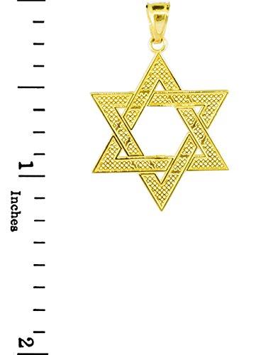 """10 ct 471/1000 Or Juifr etoile de David Pendentif (M) 1,25 """"(Livre Avec un 18"""" Chaine)"""