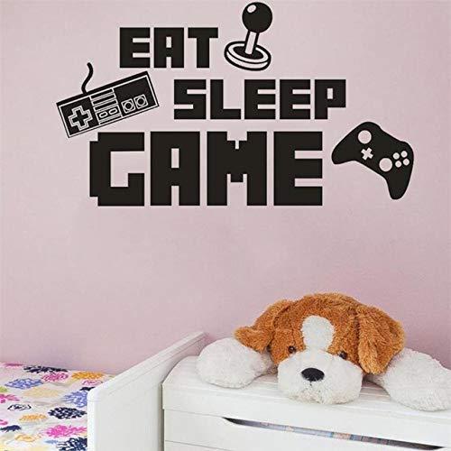 JQSM Eat Sleep Game Decal Gaming Vinyl Sticker Keyboard Joystick Gamepad Gamer Wall Art Design Teen Room Gaming Room Wall Sticker