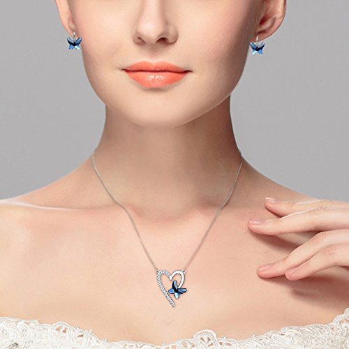 EleQueen 925 Sterling Silver Love Heart Butterfly Made with Swarovski Crystals Pendant Necklace Stud Earrings Ring Set