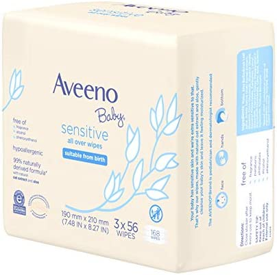 41yXvJnjpLL. AC - Aveeno Baby Sensitive All Over Wipes With Aloe & Natural Oat Extract For Face, Bottom & Hands, PH-Balanced, Hypoallergenic, Fragrance-, Phthalate-, Alcohol- & Paraben-Free, 3 Pks Of 56 Ct