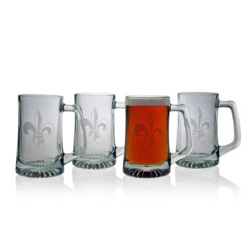 Susquehanna-Glass-Fleur-De-Lis-Sand-Etched-Beer-Mug-Set-of-4-15-ounces