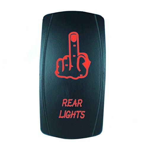 (QUNQI STAR 5 pin Laser Backlit Rocker Switch REAR LIGHTS 20A 12V On/off LED Light Toggle Switch (Red) )