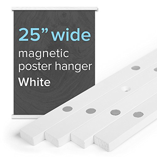 """25"""" Wide Magnetic Poster Frame Hanger in White – Solid W"""