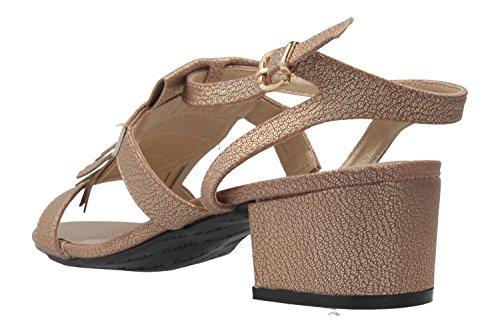 ANDRES MACHADO - Damen Sandaletten - Gold Schuhe in Übergrößen