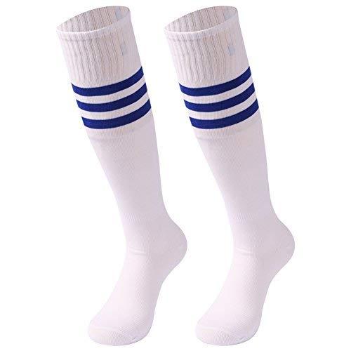 saounisi Men Knee High Socks,2 Pairs Football Volleyball Soccer Athletic Sports Tube Long Team Socks Crazy Cute Size 9-13 Navy Stripe