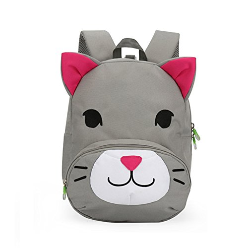 Amint Cat Design Little Kid Toddler Pre School Bag Leash Cord Backpack Gray (Gray Little Cat)