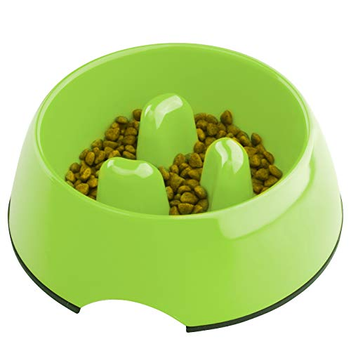 Super Design Anti-Gulping Dog Bowl Slow Feeder, Interactive Bloat Stop Pet Bowl for Fast Eaters 0.5 Cup Green