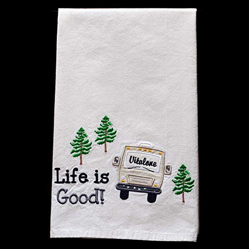 Custom Dish Towel, Camping Gift, RV Decor, Camping Dish Towel, Glamping, RV Accessories, Flour Sack Towel, RV Gift, Camper Decor, Top Quality, Choice of RV Color, (Option to add name in window) by Embroidery Hut (Image #1)