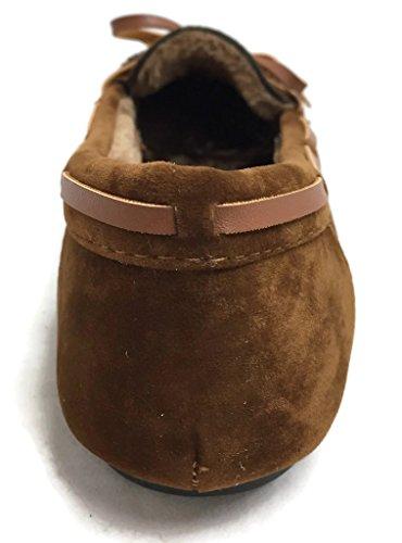 suave Zapatillas Castaño Fur Lined Faux Mocasín Loafer la Suede Mujer De waIzq4