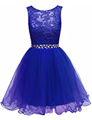 HEIMO Women's Lace Beaded Homecoming Dresses Short Sequined Appliques Prom Gowns H122