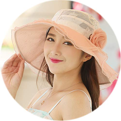 2019 New Summer Elegant Hat for Women Wide Brim Lace Floppy Hat Ladies Tea Party Cap Beach UV Sun Hats Chapeau Femme -