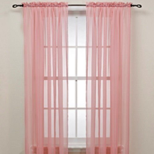 Gorgeous Home 2PCS BABY LIGHT PINK SOLID SOFT VOILE SHEER WINDOW CURTAIN PANELS ROD POCKETS DRAPES 54″ WIDE X 63″ LONG (EACH PANEL)