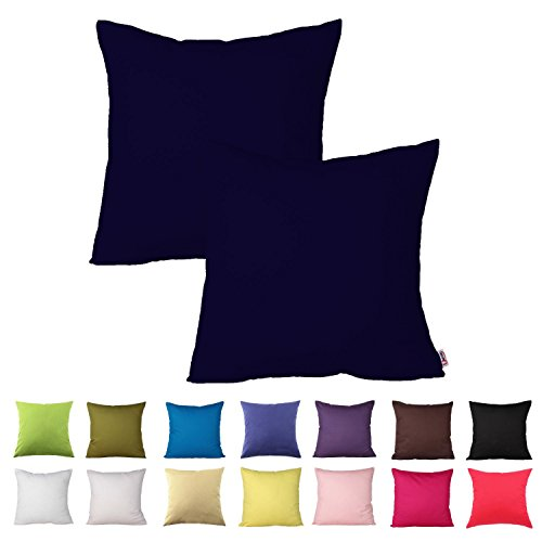 Queenie - 2 Pcs Solid Color Cotton Decorative Pillowcase Cushion Cover for Sofa Throw Pillow Case Available in 14 Colors & 5 Sizess (26 x 26 Inch (65 x 65 cm), Navy Blue)