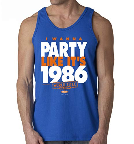 NY Baseball Fans. I Wanna Party Like It's 1986. Royal Blue T Shirt (Sm-5X) (Tank Top, Large)