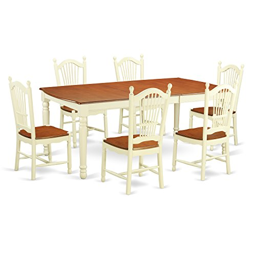 East West Furniture DOVE7-WHI-W 7 Piece Dinette Table and 6 Kitchen Chairs