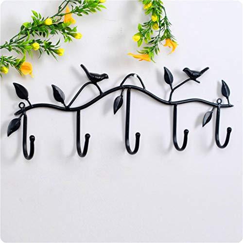 Winner666 2019 Clothing Hook Wall Hook Bird Accessories Bathroom 5 Hooks MetalHooks Coat Hook (black)