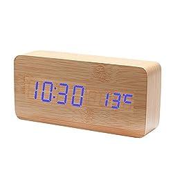 Electronic Alarm Clocks, PeleusTech Mini Rectangle Wooden Double Screen Blue LED Table Clock Sound Activated Digital Alarm Clock - Bamboo Wood Color
