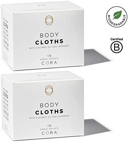 Cora pH Balanced Bamboo Feminine Wipes with Plant-Based Moisturizers and Essential Oils (2 Boxes; 36 Count Total)