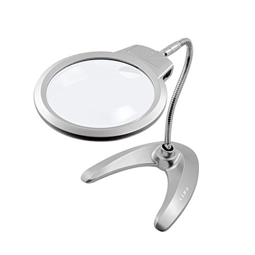 Hands Free Magnifying Glass with LED Light, 2X 5X LED Magnifying Glass Lamp for Reading, Stand Magnifier Desk Lamp for Crafts Jewelry Soldering Sewing