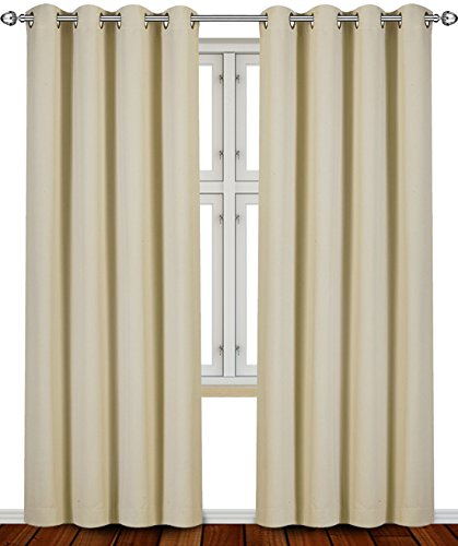Blackout, Room Darkening Curtains Window Panel Drapes – (Beige Color) 2 Panel Set, 52 inch wide by 84 inch long each panel- by Utopia Bedding