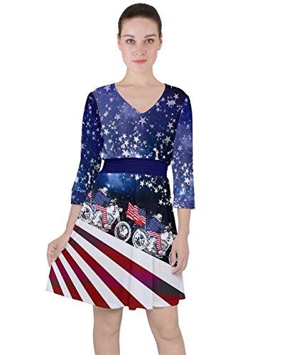 PattyCandy Women's Quarter Sleeve Ruffle Waist Dress Go Go USA Pattern - 2XL